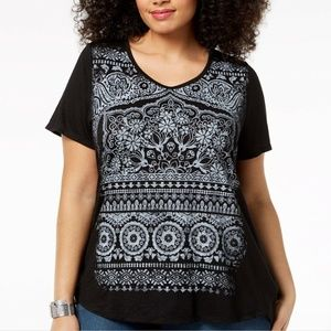 Style & Co Plus Size Graphic Top, Size 0X